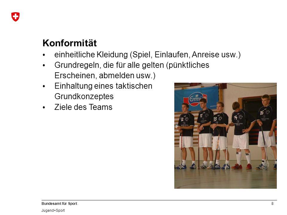 8 Bundesamt für Sport Jugend+Sport Konformität einheitliche Kleidung (Spiel, Einlaufen, Anreise usw.) Grundregeln, die für alle gelten (pünktliches Er