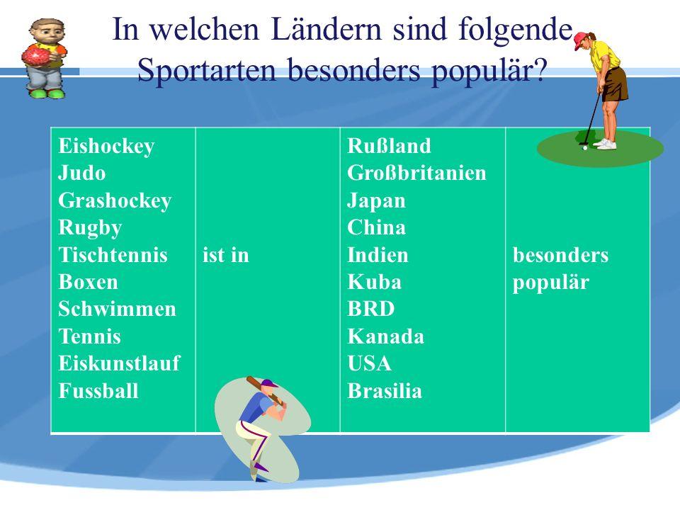In welchen Ländern sind folgende Sportarten besonders populär? Eishockey Judo Grashockey Rugby Tischtennis Boxen Schwimmen Tennis Eiskunstlauf Fussbal