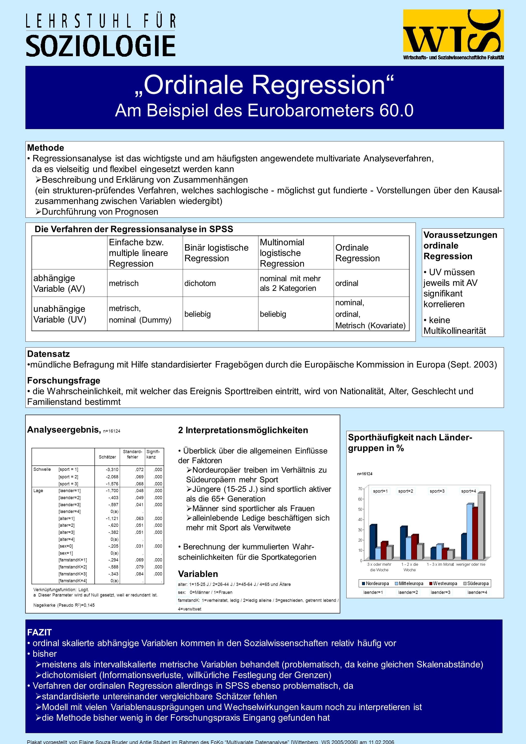 Ordinale Regression Am Beispiel des Eurobarometers 60.0 Plakat vorgestellt von Elaine Souza Bruder und Antje Stubert im Rahmen des FoKo Multivariate D