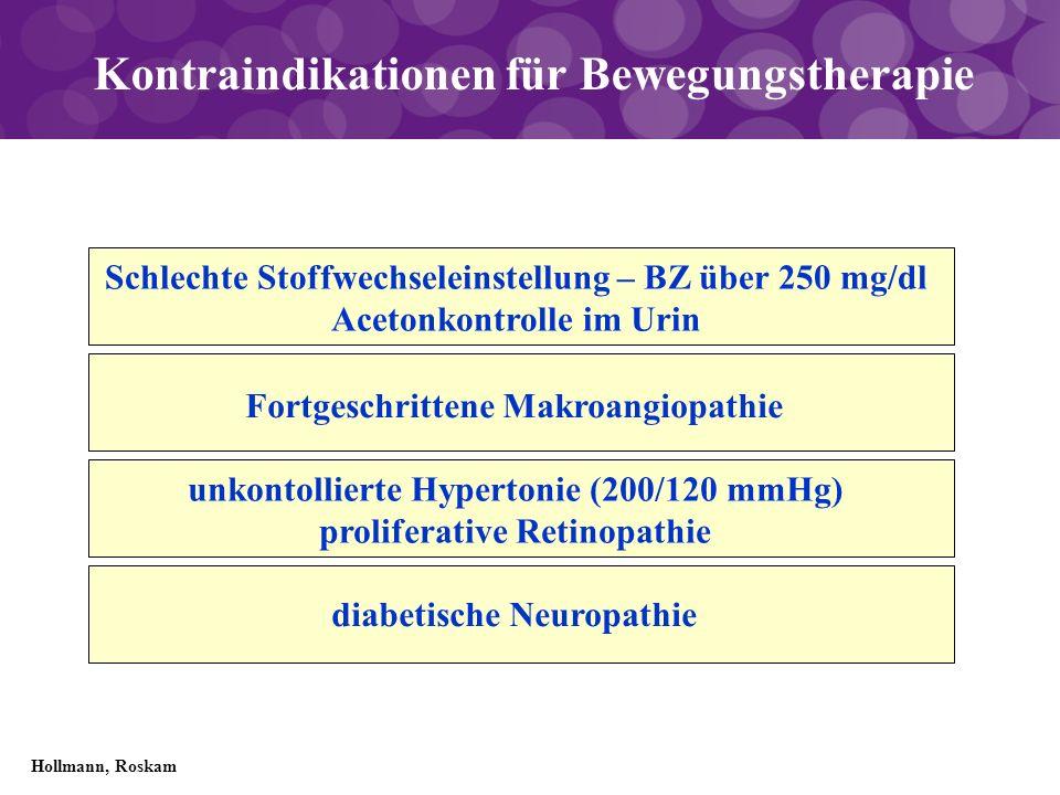 Kontraindikationen für Bewegungstherapie Schlechte Stoffwechseleinstellung – BZ über 250 mg/dl Acetonkontrolle im Urin Fortgeschrittene Makroangiopath