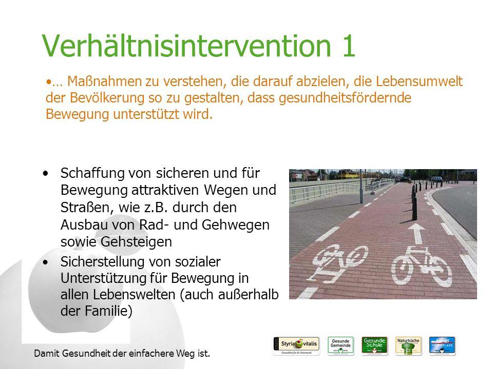 Damit Gesundheit der einfachere Weg ist. Verhältnisintervention 1 Schaffung von sicheren und für Bewegung attraktiven Wegen und Straßen, wie z.B. durc