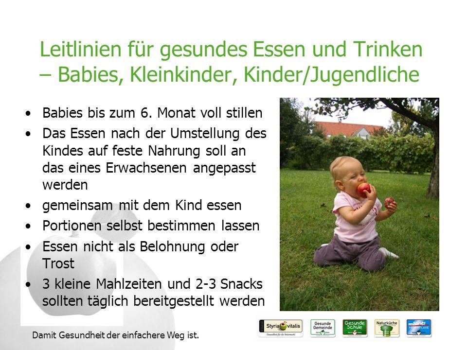 Damit Gesundheit der einfachere Weg ist. Leitlinien für gesundes Essen und Trinken – Babies, Kleinkinder, Kinder/Jugendliche Babies bis zum 6. Monat v
