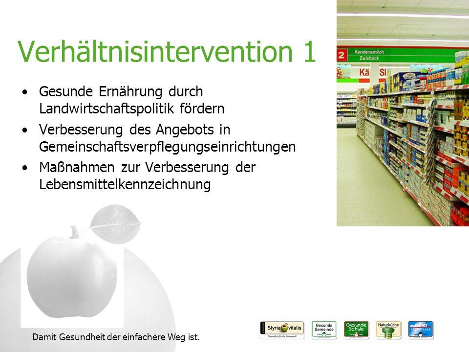 Damit Gesundheit der einfachere Weg ist. Verhältnisintervention 1 Gesunde Ernährung durch Landwirtschaftspolitik fördern Verbesserung des Angebots in