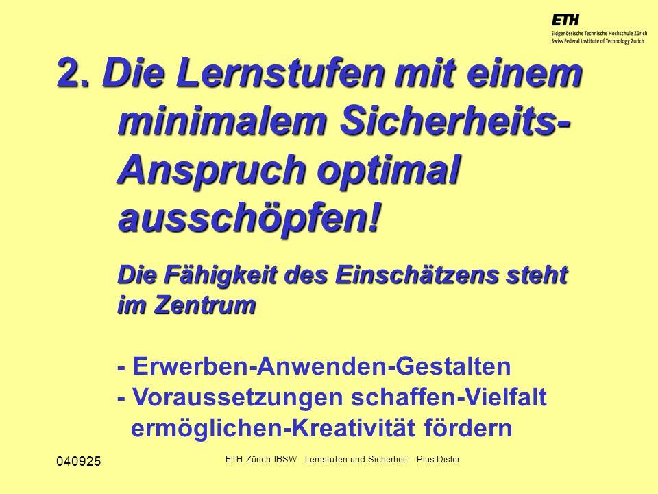 040925 ETH Zürich IBSW Lernstufen und Sicherheit - Pius Disler 2. Die Lernstufen mit einem minimalem Sicherheits- Anspruch optimal ausschöpfen! Die Fä