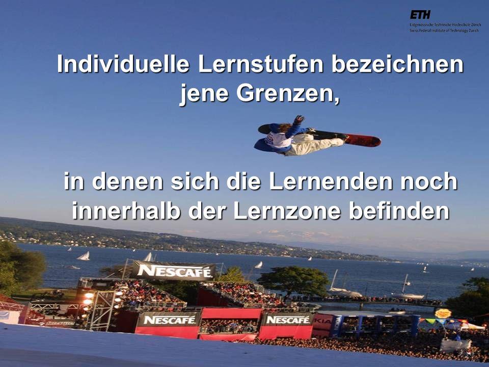 040925 ETH Zürich IBSW Lernstufen und Sicherheit - Pius Disler Individuelle Lernstufen bezeichnen jene Grenzen, in denen sich die Lernenden noch inner