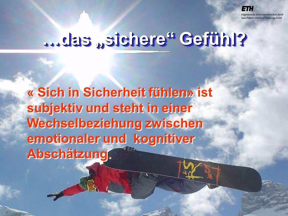 040925 ETH Zürich IBSW Lernstufen und Sicherheit - Pius Disler « Sich in Sicherheit fühlen» ist subjektiv und steht in einer Wechselbeziehung zwischen