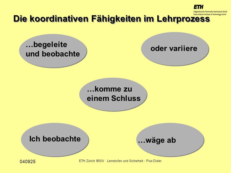 040925 ETH Zürich IBSW Lernstufen und Sicherheit - Pius Disler …begeleite und beobachte oder variiere Ich beobachte …wäge ab …komme zu einem Schluss D