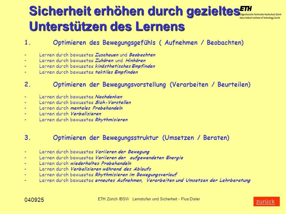 040925 ETH Zürich IBSW Lernstufen und Sicherheit - Pius Disler 1.Optimieren des Bewegungsgefühls ( Aufnehmen / Beobachten) - Lernen durch bewusstes Zu