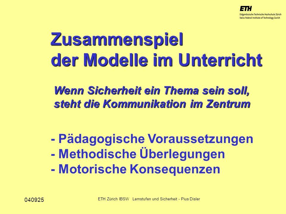040925 ETH Zürich IBSW Lernstufen und Sicherheit - Pius Disler Variation über die Lernenden Zu zweit miteinander / nebeneinander Als Gruppenausführung Im Schwarm synchron Jede/r für sich alleine...am Beispiel Schneesport