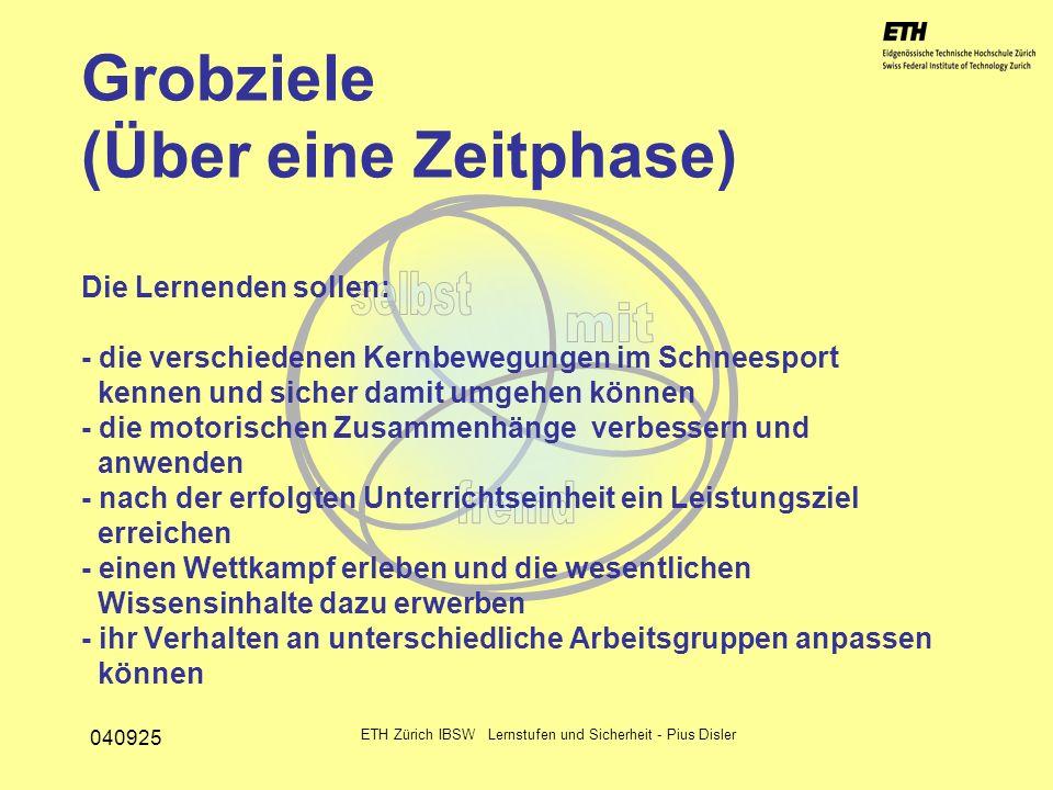 040925 ETH Zürich IBSW Lernstufen und Sicherheit - Pius Disler Grobziele (Über eine Zeitphase) Die Lernenden sollen: - die verschiedenen Kernbewegunge