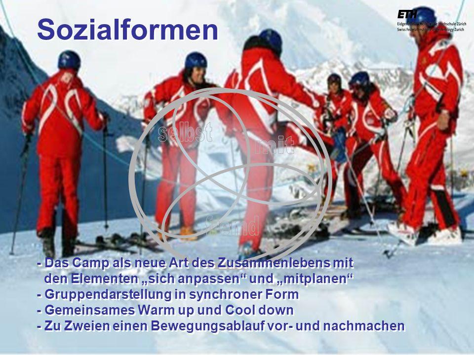 040925 ETH Zürich IBSW Lernstufen und Sicherheit - Pius Disler Sozialformen - Das Camp als neue Art des Zusammenlebens mit den Elementen sich anpassen