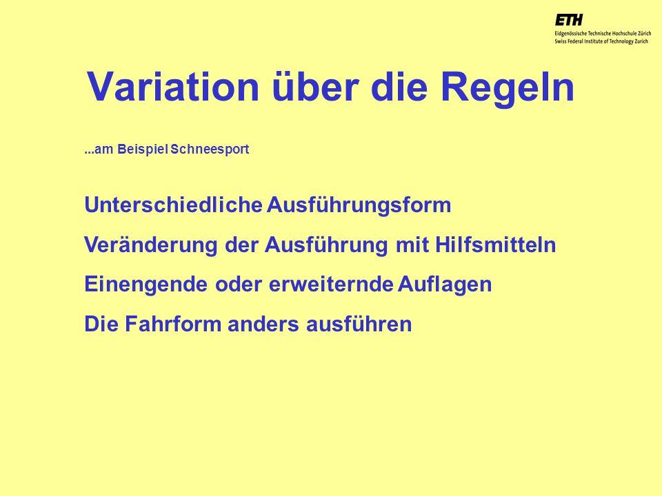 040925 ETH Zürich IBSW Lernstufen und Sicherheit - Pius Disler Variation über die Regeln Unterschiedliche Ausführungsform Veränderung der Ausführung m