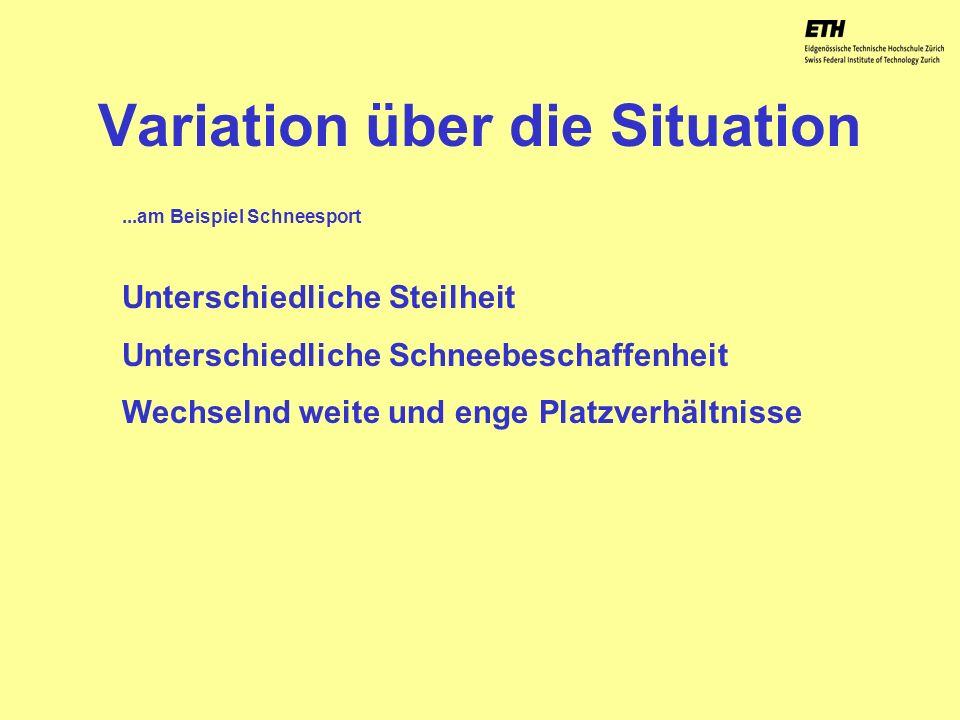 040925 ETH Zürich IBSW Lernstufen und Sicherheit - Pius Disler Variation über die Situation Unterschiedliche Steilheit Unterschiedliche Schneebeschaff