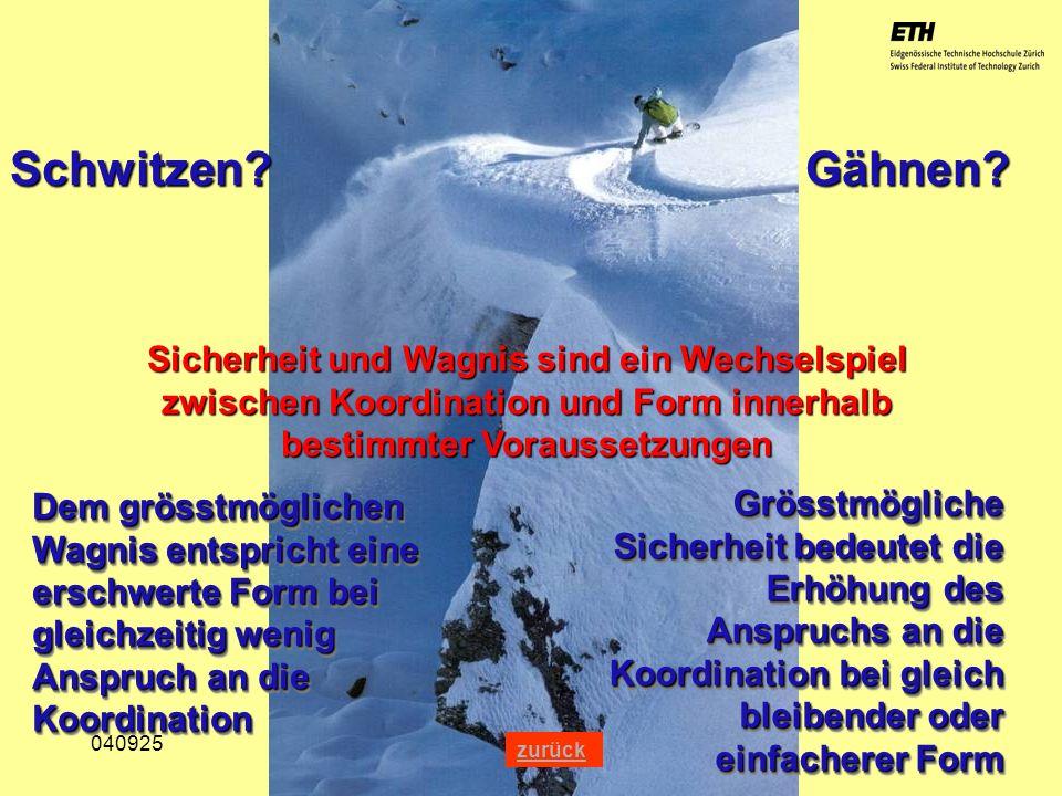 040925 ETH Zürich IBSW Lernstufen und Sicherheit - Pius Disler Schwitzen? Gähnen? Sicherheit und Wagnis sind ein Wechselspiel zwischen Koordination un