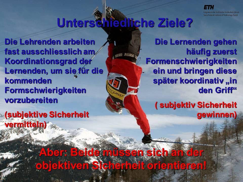 040925 ETH Zürich IBSW Lernstufen und Sicherheit - Pius Disler 1.Optimieren des Bewegungsgefühls ( Aufnehmen / Beobachten) - Lernen durch bewusstes Zuschauen und Beobachten - Lernen durch bewusstes Zuhören und Hinhören - Lernen durch bewusstes kinästhetisches Empfinden - Lernen durch bewusstes taktiles Empfinden 2.Optimieren der Bewegungsvorstellung (Verarbeiten / Beurteilen) - Lernen durch bewusstes Nachdenken - Lernen durch bewusstes Sich-Vorstellen - Lernen durch mentales Probehandeln - Lernen durch Verbalisieren - Lernen durch bewusstes Rhythmisieren 3.Optimieren der Bewegungsstruktur (Umsetzen / Beraten) - Lernen durch bewusstes Variieren der Bewegung - Lernen durch bewusstes Variieren der aufgewendeten Energie - Lernen durch wiederholtes Probehandeln - Lernen durch Verbalisieren während des Ablaufs - Lernen durch bewusstes Rhythmisieren im Bewegungsverlauf - Lernen durch bewusstes erneutes Aufnehmen, Verarbeiten und Umsetzen der Lehrberatung Sicherheit erhöhen durch gezieltes Unterstützen des Lernens zurück
