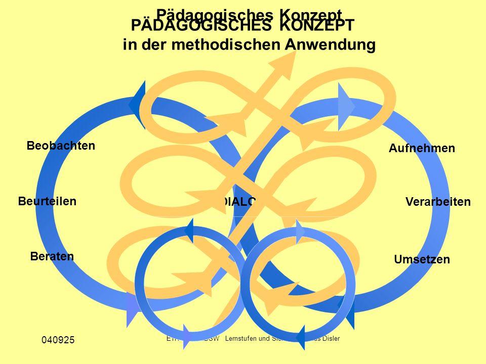 040925 ETH Zürich IBSW Lernstufen und Sicherheit - Pius Disler Beobachten Beurteilen Beraten Aufnehmen Verarbeiten Umsetzen PÄDAGOGISCHES KONZEPT DIAL