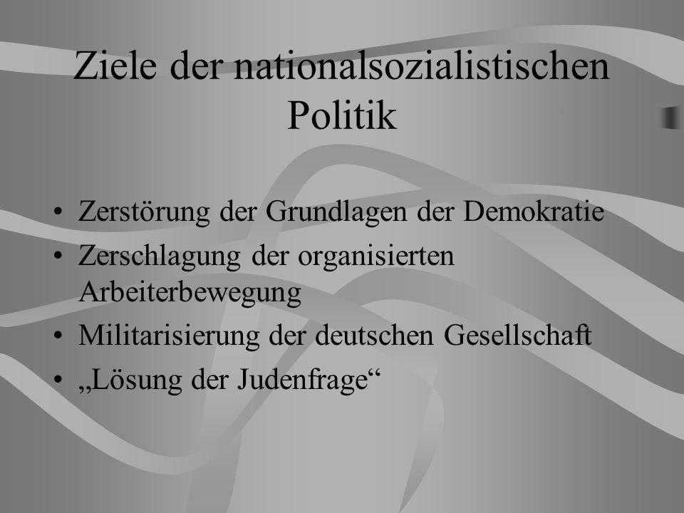 Ziele der nationalsozialistischen Politik Zerstörung der Grundlagen der Demokratie Zerschlagung der organisierten Arbeiterbewegung Militarisierung der deutschen Gesellschaft Lösung der Judenfrage