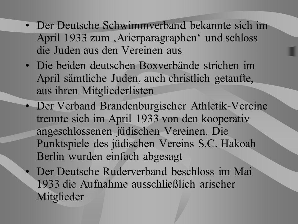 Der Deutsche Schwimmverband bekannte sich im April 1933 zum Arierparagraphen und schloss die Juden aus den Vereinen aus Die beiden deutschen Boxverbände strichen im April sämtliche Juden, auch christlich getaufte, aus ihren Mitgliederlisten Der Verband Brandenburgischer Athletik-Vereine trennte sich im April 1933 von den kooperativ angeschlossenen jüdischen Vereinen.