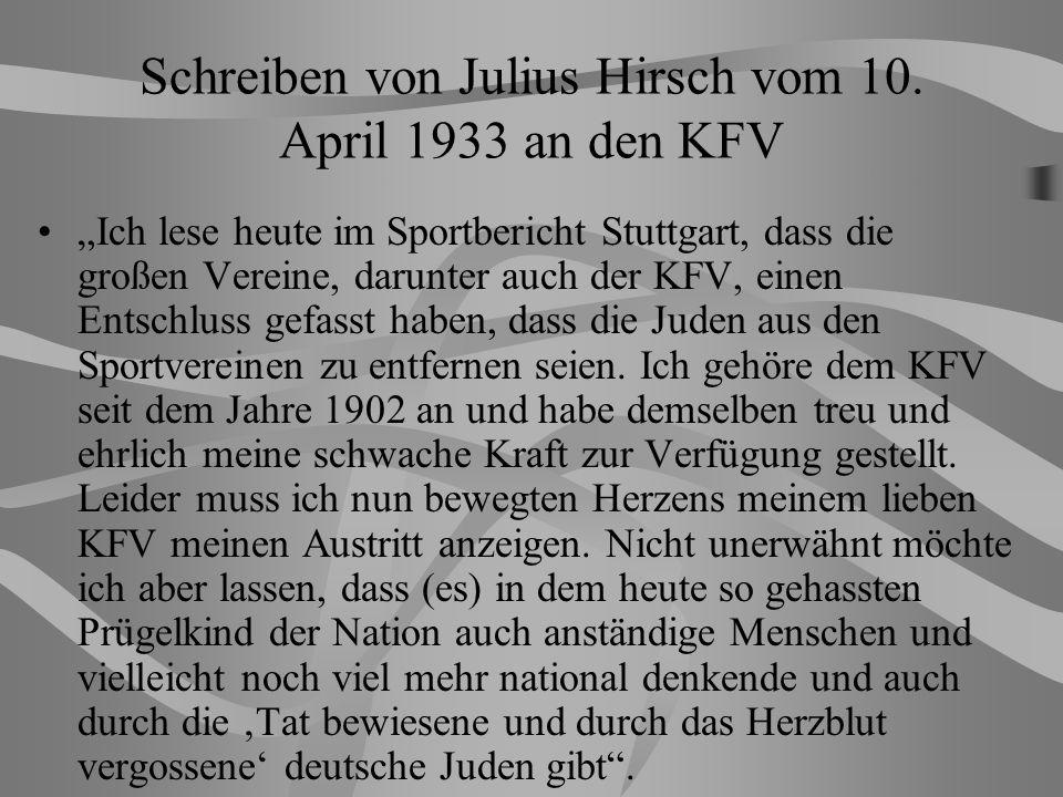 Schreiben von Julius Hirsch vom 10.