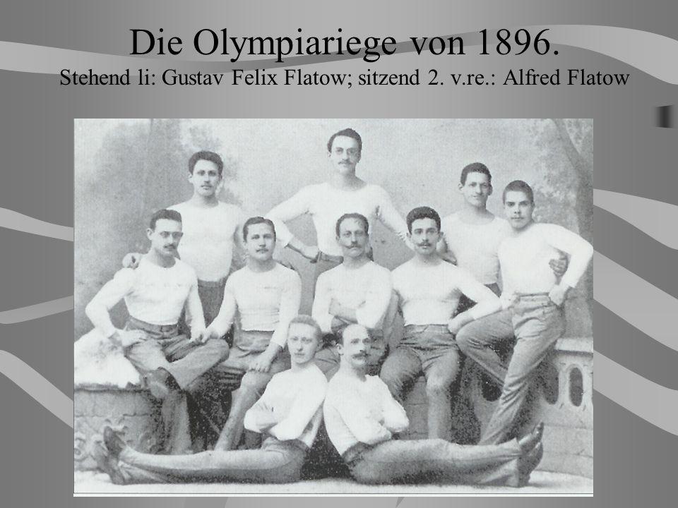 Die Olympiariege von 1896. Stehend li: Gustav Felix Flatow; sitzend 2. v.re.: Alfred Flatow