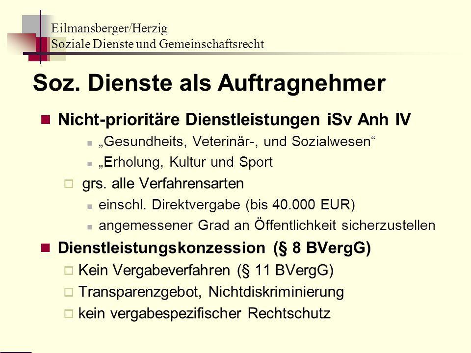 Eilmansberger/Herzig Soziale Dienste und Gemeinschaftsrecht Soz. Dienste als Auftragnehmer Nicht-prioritäre Dienstleistungen iSv Anh IV Gesundheits, V