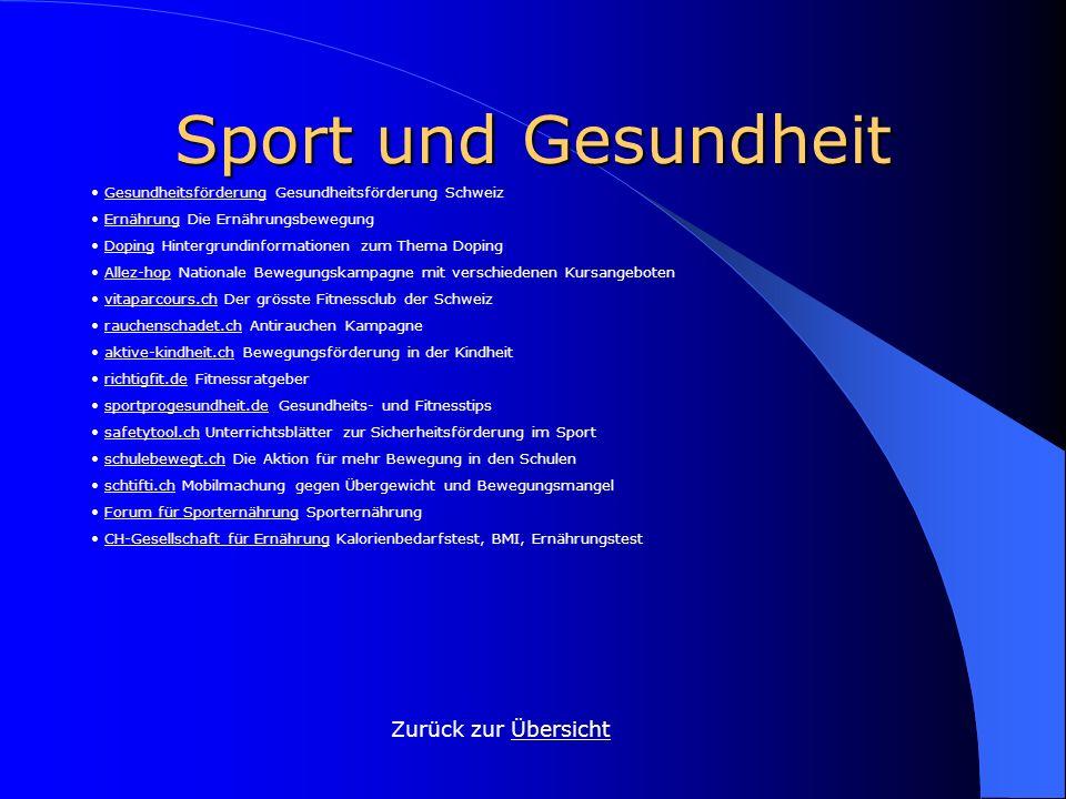 Sport und Gesundheit Zurück zur ÜbersichtÜbersicht Gesundheitsförderung Gesundheitsförderung SchweizGesundheitsförderung Ernährung Die Ernährungsbeweg