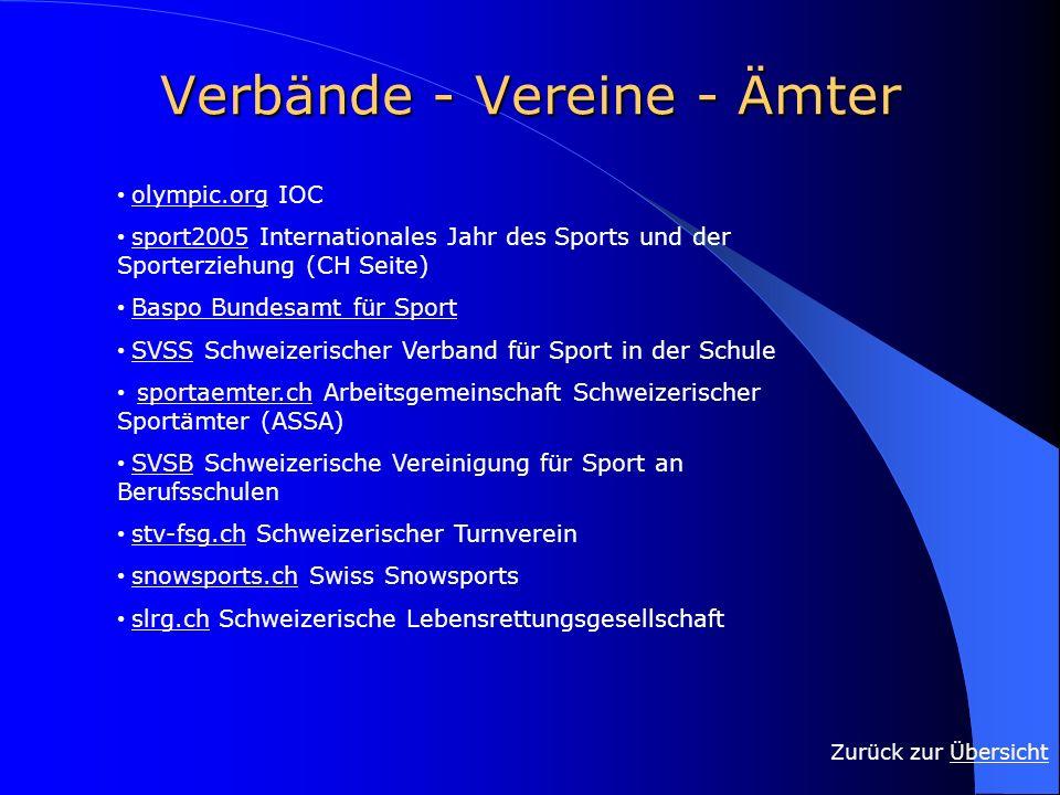 Verbände - Vereine - Ämter Zurück zur ÜbersichtÜbersicht olympic.org IOC olympic.org sport2005 Internationales Jahr des Sports und der Sporterziehung