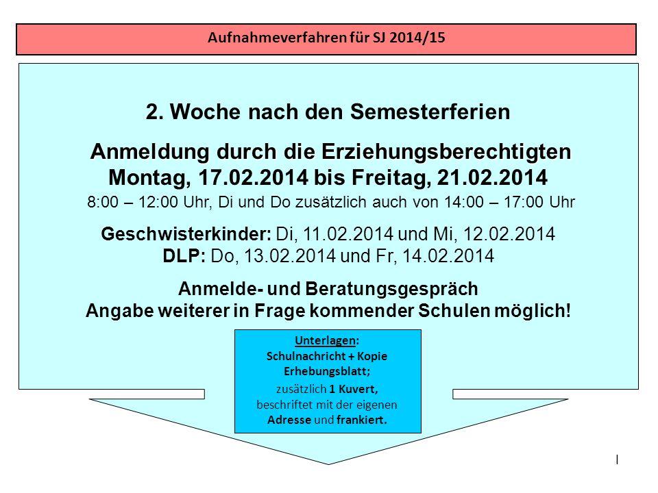 I 2. Woche nach den Semesterferien Anmeldung durch die Erziehungsberechtigten Anmeldung durch die Erziehungsberechtigten Montag, 17.02.2014 bis Freita