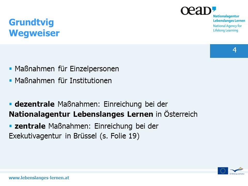 www.lebenslanges-lernen.at 5 Grundtvig dezentrale Maßnahmen Lernpartnerschaften Vorbereitende Besuche/Kontaktseminare Workshops Freiwilligenprojekte 50+ Einzelmobilitäten: Fortbildung für Personal in der EB, Besuche und Austausch, Assistenz