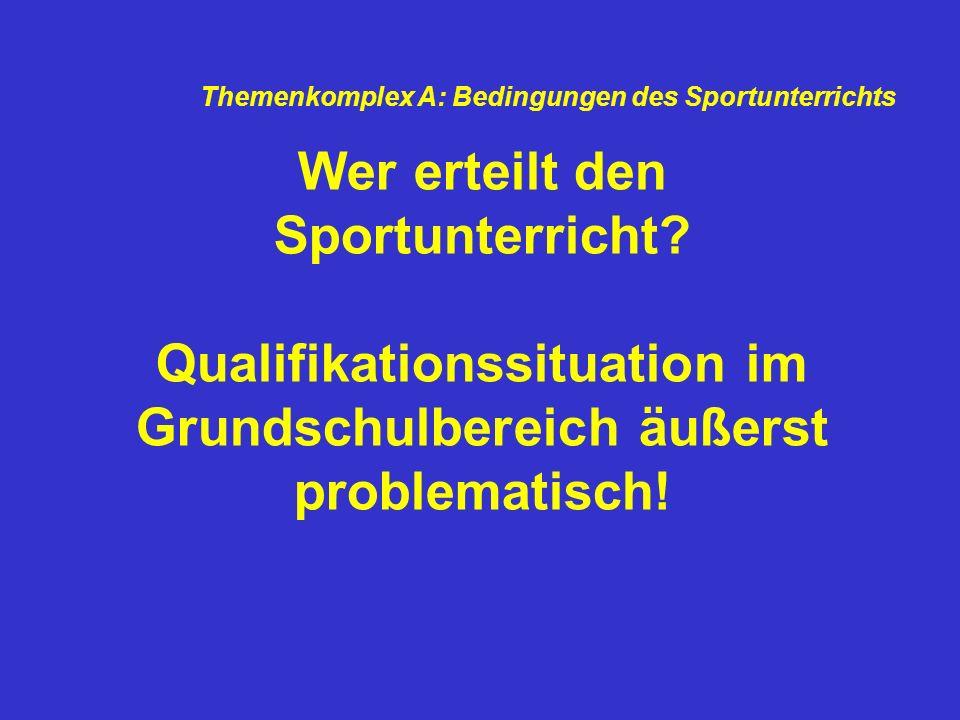 Wer erteilt den Sportunterricht? Qualifikationssituation im Grundschulbereich äußerst problematisch! Themenkomplex A: Bedingungen des Sportunterrichts
