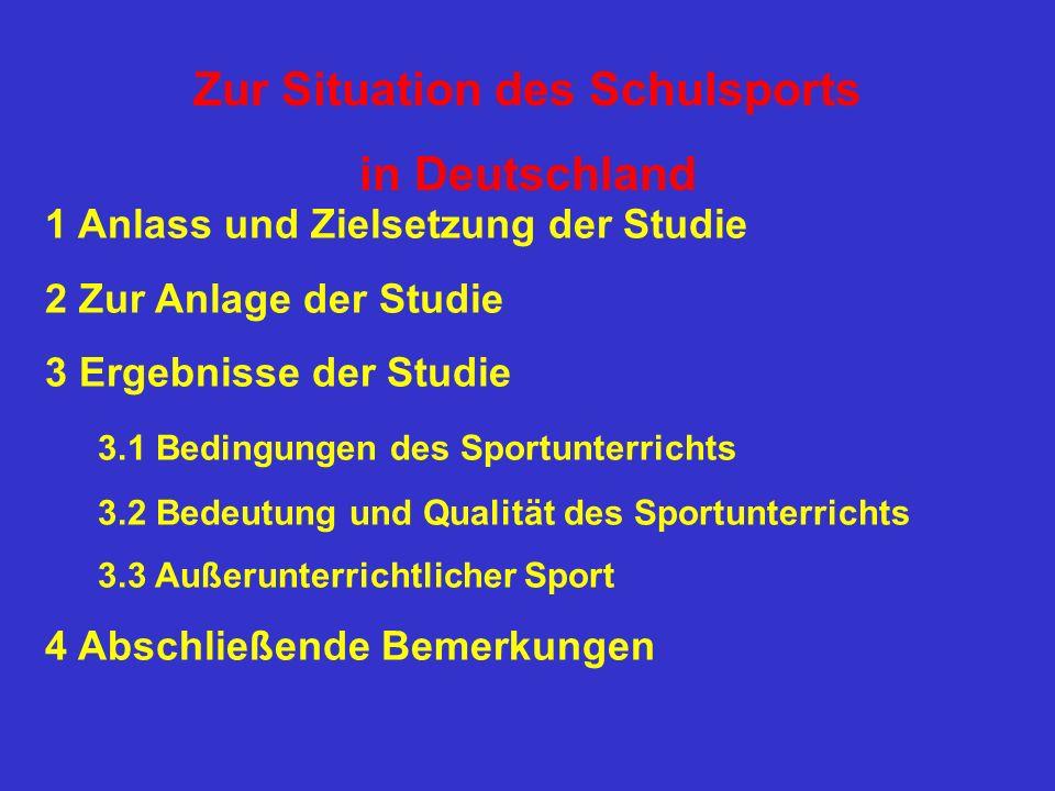 Zur Situation des Schulsports in Deutschland 1 Anlass und Zielsetzung der Studie 2 Zur Anlage der Studie 3 Ergebnisse der Studie 3.1 Bedingungen des S