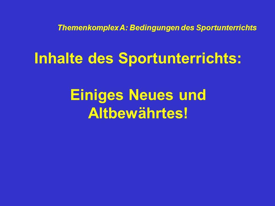 Inhalte des Sportunterrichts: Einiges Neues und Altbewährtes! Themenkomplex A: Bedingungen des Sportunterrichts