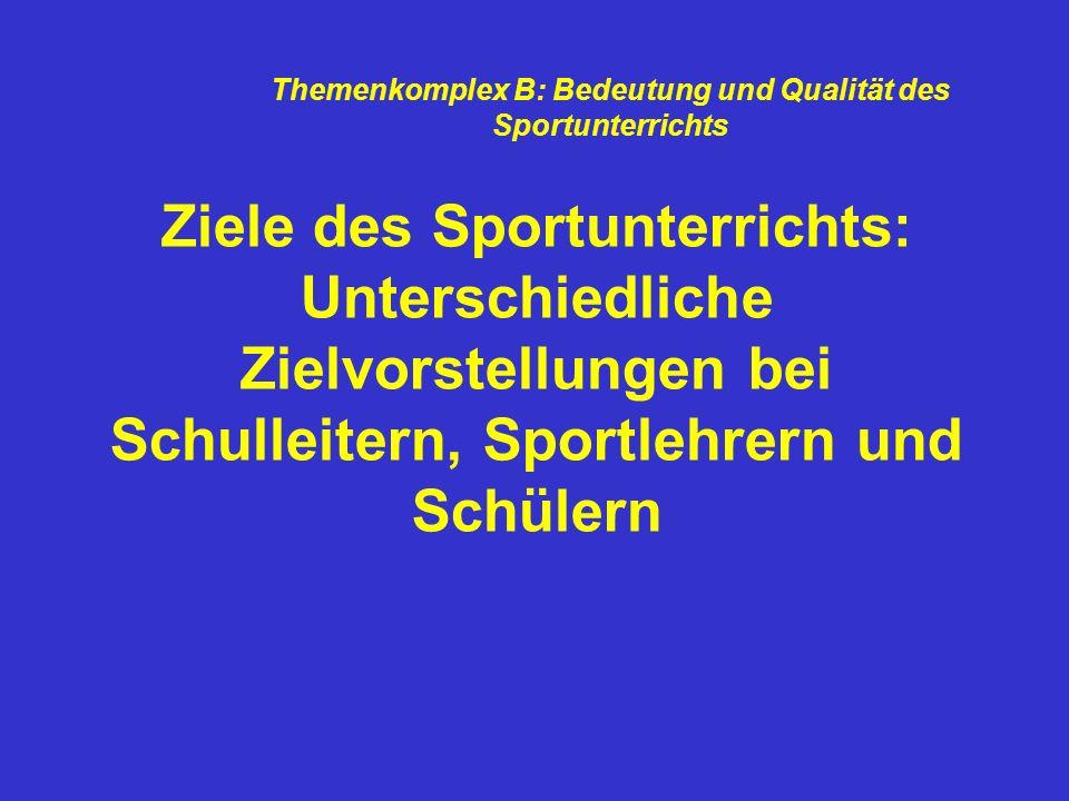 Ziele des Sportunterrichts: Unterschiedliche Zielvorstellungen bei Schulleitern, Sportlehrern und Schülern Themenkomplex B: Bedeutung und Qualität des