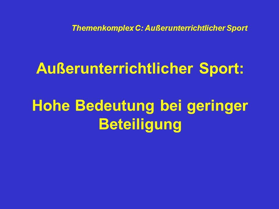 Außerunterrichtlicher Sport: Hohe Bedeutung bei geringer Beteiligung Themenkomplex C: Außerunterrichtlicher Sport