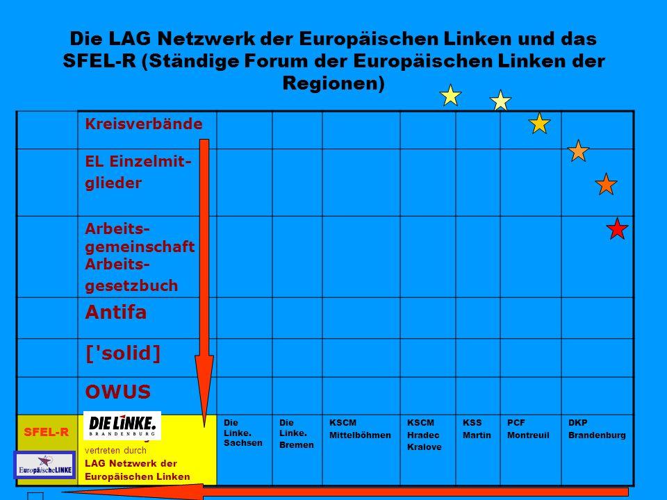 Die LAG Netzwerk der Europäischen Linken und das SFEL-R (Ständige Forum der Europäischen Linken der Regionen) Kreisverbände EL Einzelmit- glieder Arbe