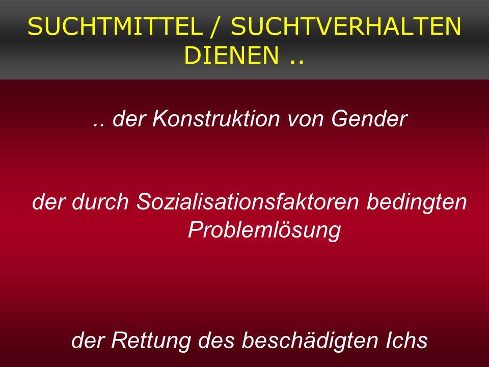 SUCHTMITTEL / SUCHTVERHALTEN DIENEN.... der Konstruktion von Gender der durch Sozialisationsfaktoren bedingten Problemlösung der Rettung des beschädig