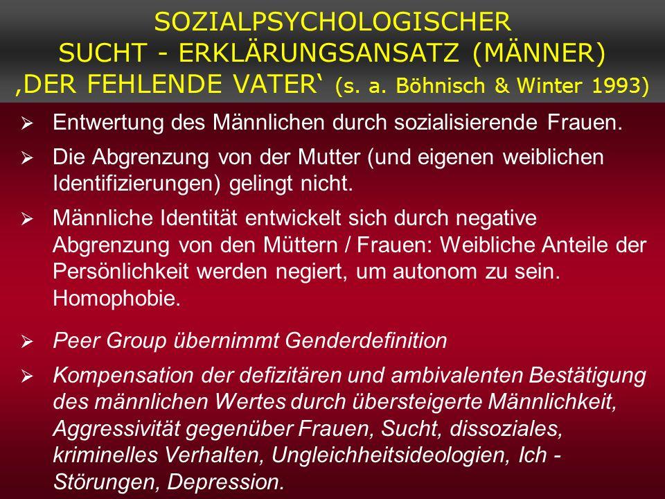 SOZIALPSYCHOLOGISCHER SUCHT - ERKLÄRUNGSANSATZ (MÄNNER) DER FEHLENDE VATER (s. a. Böhnisch & Winter 1993) Entwertung des Männlichen durch sozialisiere