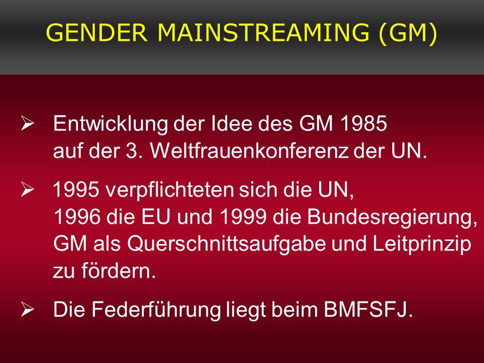 Entwicklung der Idee des GM 1985 auf der 3. Weltfrauenkonferenz der UN. 1995 verpflichteten sich die UN, 1996 die EU und 1999 die Bundesregierung, GM