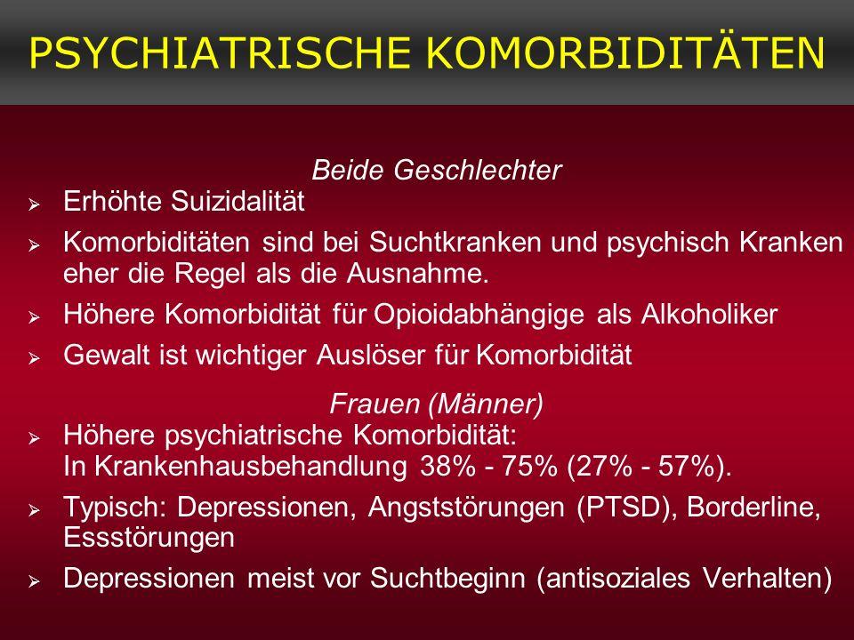 PSYCHIATRISCHE KOMORBIDITÄTEN Beide Geschlechter Erhöhte Suizidalität Komorbiditäten sind bei Suchtkranken und psychisch Kranken eher die Regel als di