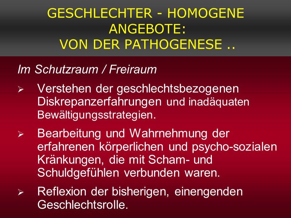 GESCHLECHTER - HOMOGENE ANGEBOTE: VON DER PATHOGENESE.. Im Schutzraum / Freiraum Verstehen der geschlechtsbezogenen Diskrepanzerfahrungen und inadäqua