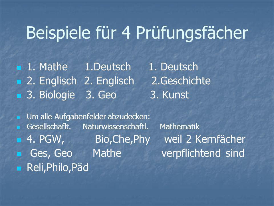 Beispiele für 4 Prüfungsfächer 1. Mathe 1.Deutsch 1. Deutsch 2. Englisch 2. Englisch 2.Geschichte 3. Biologie 3. Geo 3. Kunst Um alle Aufgabenfelder a