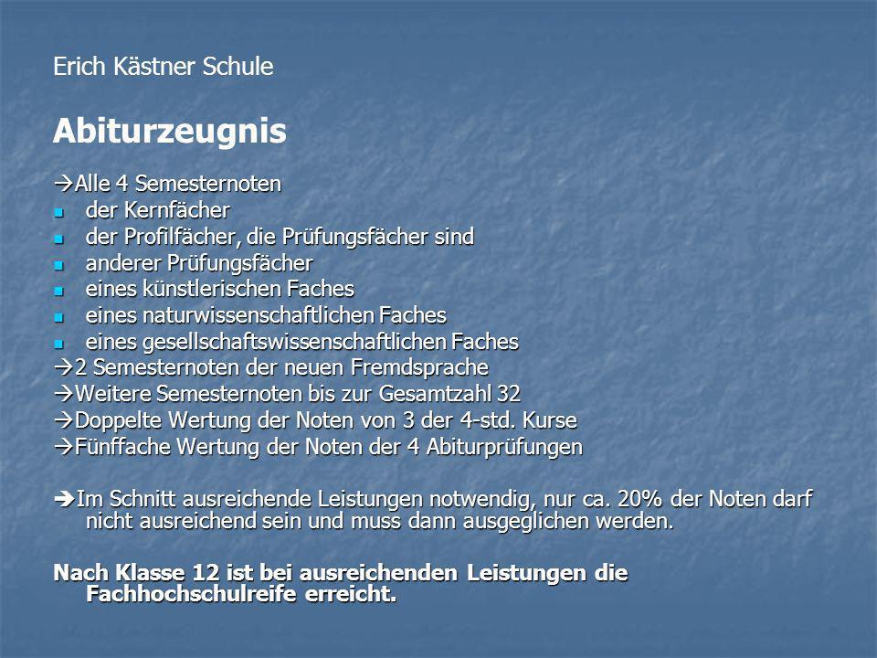 Erich Kästner Schule Abiturzeugnis Alle 4 Semesternoten Alle 4 Semesternoten der Kernfächer der Kernfächer der Profilfächer, die Prüfungsfächer sind d