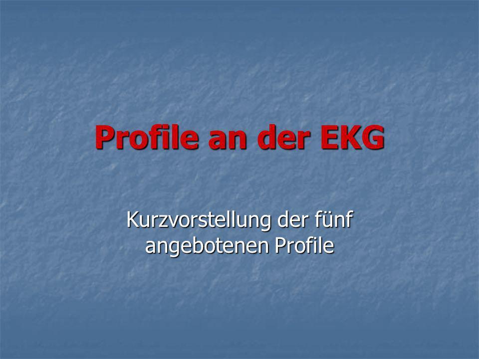 Profile an der EKG Kurzvorstellung der fünf angebotenen Profile