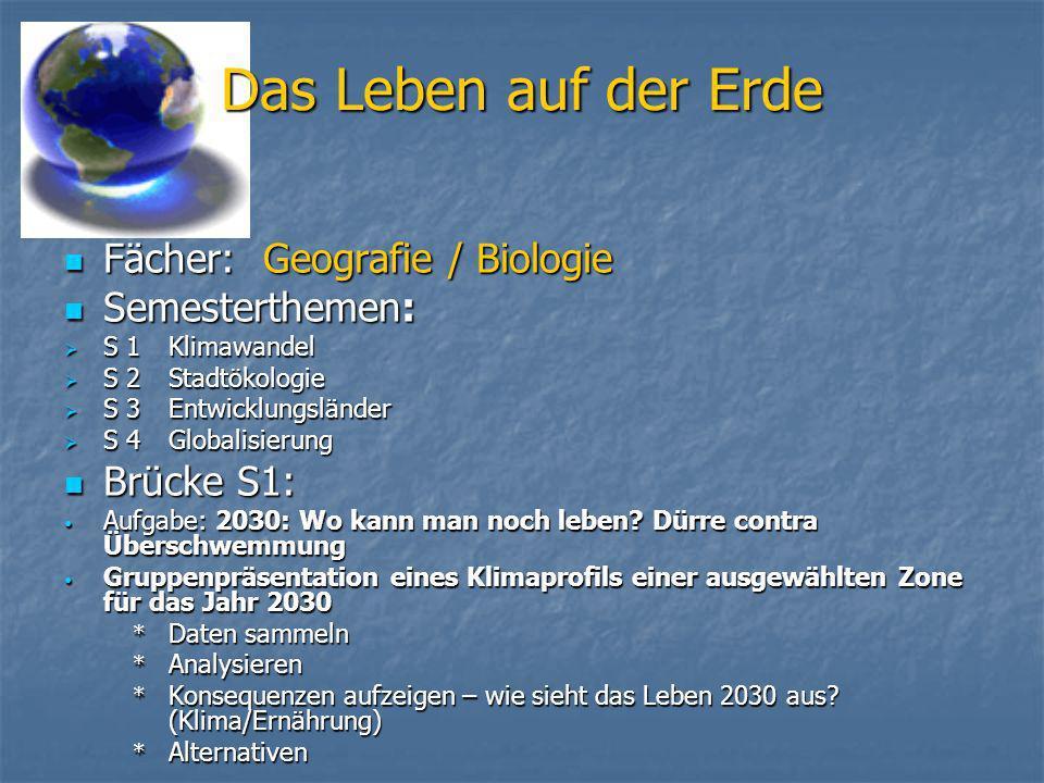 Das Leben auf der Erde Fächer: Geografie / Biologie Fächer: Geografie / Biologie Semesterthemen: Semesterthemen: S 1Klimawandel S 1Klimawandel S 2Stad