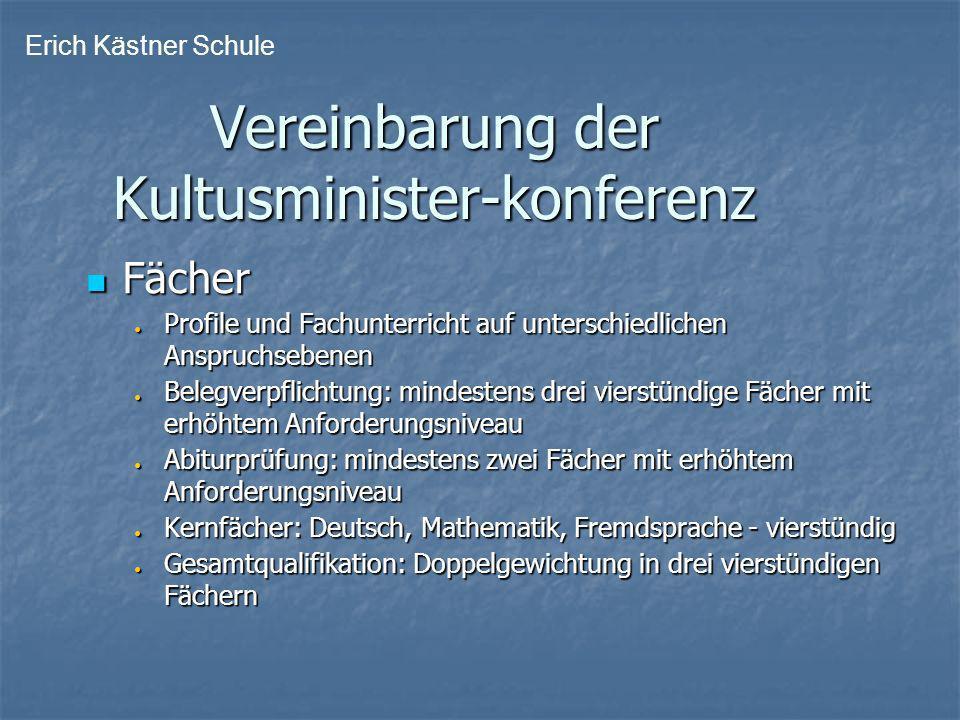 Vereinbarung der Kultusminister-konferenz Vereinbarung der Kultusminister-konferenz Fächer Fächer Profile und Fachunterricht auf unterschiedlichen Ans