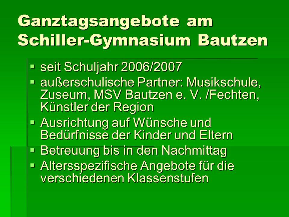 Ganztagsangebote am Schiller-Gymnasium Bautzen seit Schuljahr 2006/2007 seit Schuljahr 2006/2007 außerschulische Partner: Musikschule, Zuseum, MSV Bau