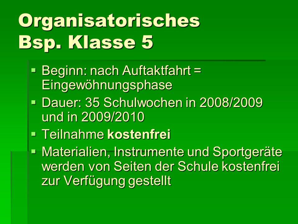 Organisatorisches Bsp. Klasse 5 Beginn: nach Auftaktfahrt = Eingewöhnungsphase Beginn: nach Auftaktfahrt = Eingewöhnungsphase Dauer: 35 Schulwochen in