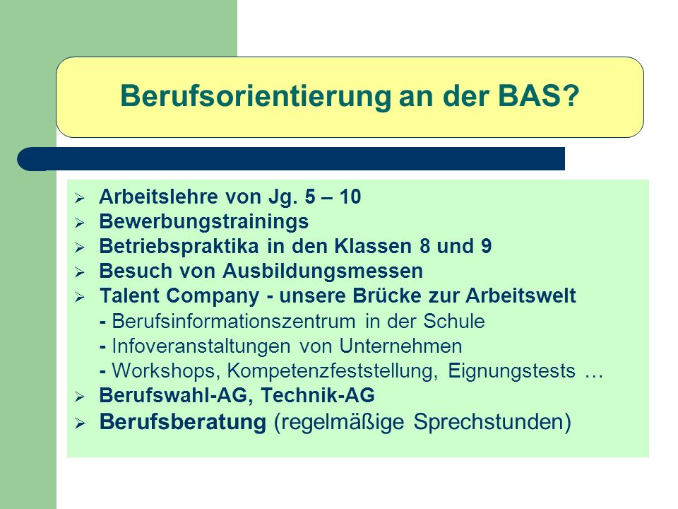 BAS-Abschlüsse nach Klasse 10 Hauptschulabschluss/Qualifizierender Hauptschulabschluss Realschulabschluss Qualifizierender Realschulabschluss (Durchschnitt D/E/M/1Nawi < 3 ; Durchschnitt übrige Fächer < 3) VGO (Versetzungszeugnis in die Gymn.