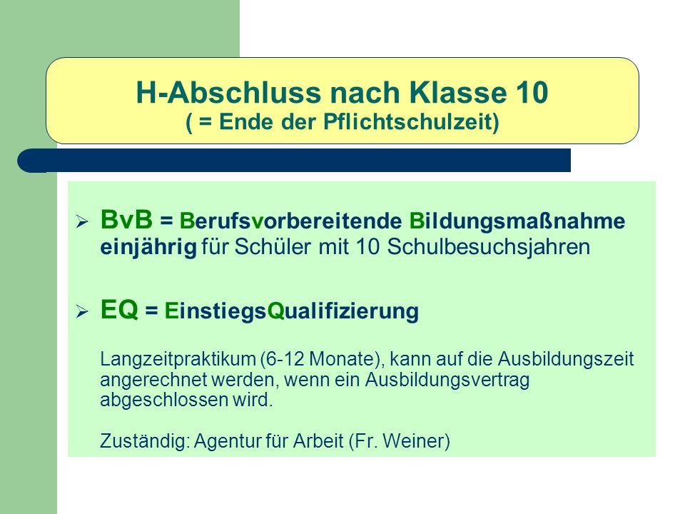 Realschulabschluss Mögliche Angebote an Weiterführenden Schulen: BFS (einjährig) = Berufsfachschule BFS (zweijährig) = Vollschulische (dreijährig) Berufsausbildung FOS (zweijährig) = Fachhochschulreife Gymn.