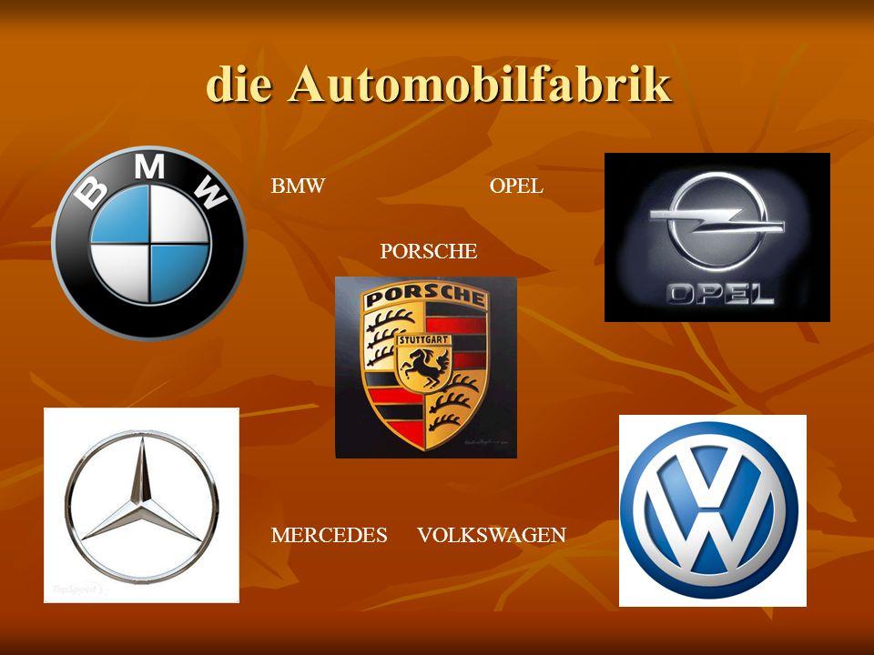 die Automobilfabrik BMW MERCEDESVOLKSWAGEN PORSCHE OPEL